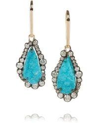 Kimberly Mcdonald | Blue 18karat Rose Gold Diamond and Chrysocolla Druze Earrings | Lyst