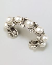 Lanvin - Pearl Crystal Cuff White - Lyst