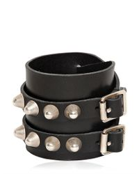 Saint Laurent | Black Studded Buckle Leather Bracelet for Men | Lyst