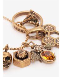 Alexander McQueen - Metallic Skull And Bee Charms Pendant - Lyst