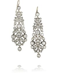 Olivia Collings - Metallic Silver Diamond Earrings - Lyst