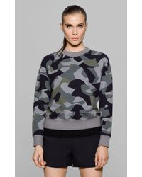 Theory | Black Toff Camo Knit Sweatshirt | Lyst