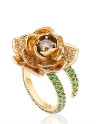 Ana De Costa - White Rose Gold Lotus Ring - Lyst