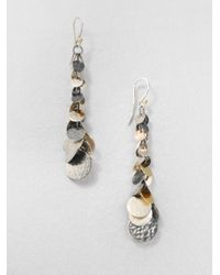 Gurhan | Metallic Sterling Silver 24k Gold Graduated Flake Drop Earrings | Lyst