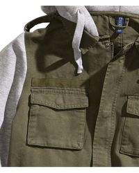 H&M | Green Jacket with A Sweatshirt Hood for Men | Lyst