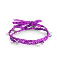 Marc By Marc Jacobs - Purple Braided Double Wrap Charm Bracelet - Lyst
