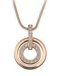 Swarovski - Metallic Rose Gold Plated Circle Pendant Necklace - Lyst