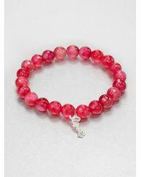 Sydney Evan - Diamond 14k White Gold Pink Agate Beaded Stretch Bracelet - Lyst