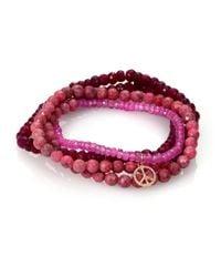 Sydney Evan | Diamond Pink Sapphire And Rhodonite Bracelet | Lyst