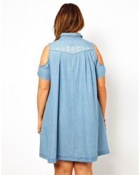 ASOS - Blue Curve Embroidered Cold Shoulder Denim Dress - Lyst