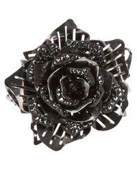 Lanvin | Black Crystal Embellished Flower Ring | Lyst