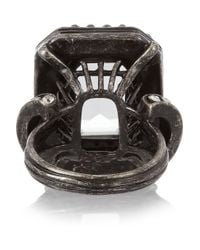 Lanvin - Metallic Gunmetaltone Glass Crystal Ring - Lyst