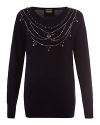 Markus Lupfer - Blue Navy Jewelled Necklace Merino Jumper - Lyst