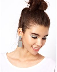ASOS - Metallic Rectangle Doorknocker Earrings - Lyst