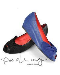 Pas De Rouge - E813 Open Toe Wedge in Blue Suede - Lyst
