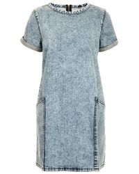 TOPSHOP - Blue Moto Vintage Acid Pocket Dress - Lyst