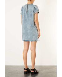 TOPSHOP - Blue Moto Vintage Acid Pocket Dress - Lyst
