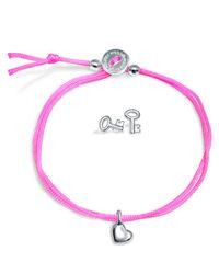 Alex Woo - Pink Mini Addition Heart Bracelet with Key Earrings Set - Lyst