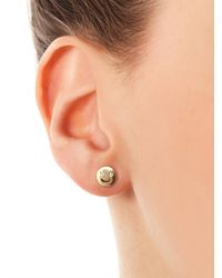 Alison Lou - Metallic Diamond and Gold Face Stud Earring - Lyst
