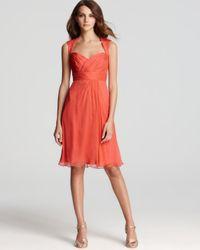 Amsale - Orange Short Dress Cap Sleeve Sweetheart - Lyst