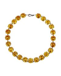 Bottega Veneta | Yellow Oxidized Sterling Silver Cubic Zirconia Necklace | Lyst