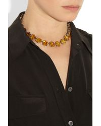 Bottega Veneta - Yellow Oxidized Sterling Silver Cubic Zirconia Necklace - Lyst