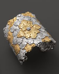 Buccellati | Metallic Wide Vine Leaf Cuff Bracelet with Gold Accents | Lyst