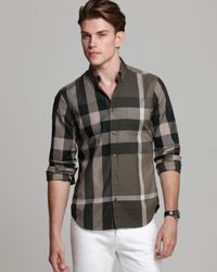 f33c8f194d57 Burberry Brit Fred Check Sport Shirt Slim Fit in Gray for Men - Lyst