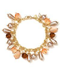 Carolee - Pink Beaded Charm Bracelet - Lyst