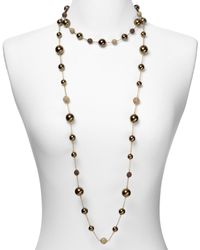 Carolee - Metallic Chocolate Pearl and Gold Fireball Long Illusion Necklace 42 - Lyst