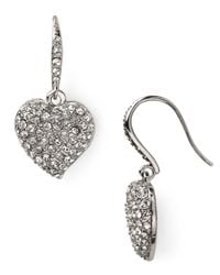 Carolee | Metallic Pavé Heart Drop Earrings | Lyst