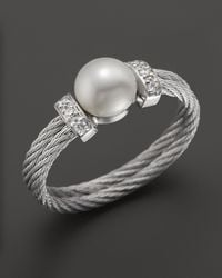 Charriol | Metallic Stainless Steel Classique Pearl Ring with Diamonds 005 Ct Tw | Lyst