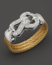 Charriol | Metallic 18k White Gold Diamond and Yellow Stainless Steel Nautical Cable Ring | Lyst