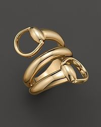 Gucci - 18k Yellow Gold Horsebit Contraire Ring - Lyst