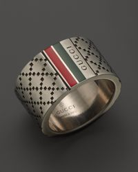 Gucci | Metallic Aged Sterling Silver and Enamel Diamantissima Motif 12mm Ring for Men | Lyst