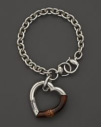 Gucci | Metallic Sterling Silver and Bamboo Heart Bracelet | Lyst