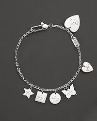 Gucci - Metallic Sterling Silver Trademark Charm Bracelet - Lyst