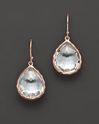 Ippolita | Metallic Rosé Small Teardrop Earrings With Clear Quartz | Lyst