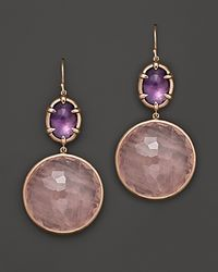 Ippolita | Metallic Rose Sugar Kissed Amethyst and Rose Quartz Drop Earrings | Lyst