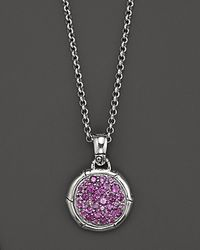 John Hardy | Metallic Bamboo Silver Small Round Pendant with Amethyst On Chain Necklace 18 | Lyst