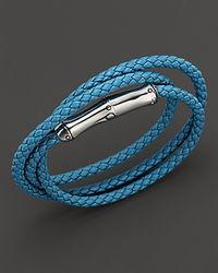 John Hardy | Metallic Bamboo Sterling Silver Turquoise Leather Triple Wrap Bracelet | Lyst