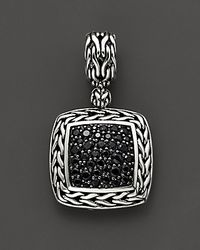 John Hardy - Metallic Sterling Silver Classic Chain Medium Square Pendant With Black Sapphire - Lyst