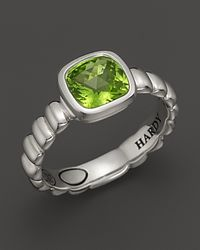 John Hardy - Metallic Bedeg Sterling Silver Batu Square Station Slim Band Ring with 7mm Peridot - Lyst