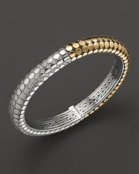 John Hardy | Metallic Dot 18K Gold And Sterling Silver Slim Round Hinge Bangle | Lyst