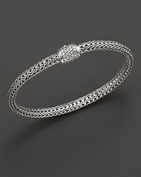 John Hardy - Metallic Extra Small Classic Chain Bracelet With Diamond Pavé Clasp - Lyst