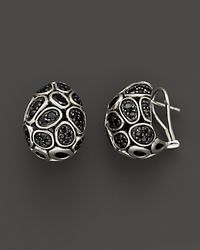 John Hardy - Metallic Kali Pebble Sterling Silver Black Chalcedony and Black Sapphire Lava Buddha Belly Earrings - Lyst