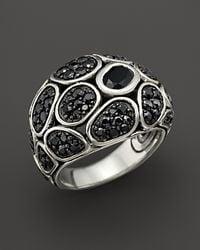 John Hardy Metallic Kali Pebble Sterling Silver Black Chalcedony and Black Sapphire Lava Small Dome Ring