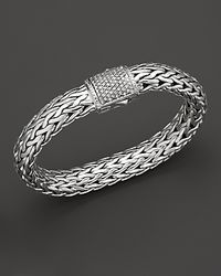 John Hardy | Metallic Large Chain Bracelet With Diamond Pavé Clasp | Lyst