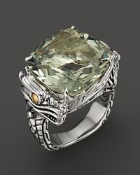 John Hardy | Metallic Naga 18K Gold And Sterling Silver Batu Square Green Amethyst Ring | Lyst