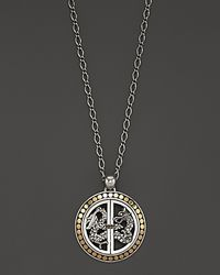 """John Hardy - Metallic Naga 18k Gold And Silver Small Round Drop Pendant Necklace, 18"""" - Lyst"""
